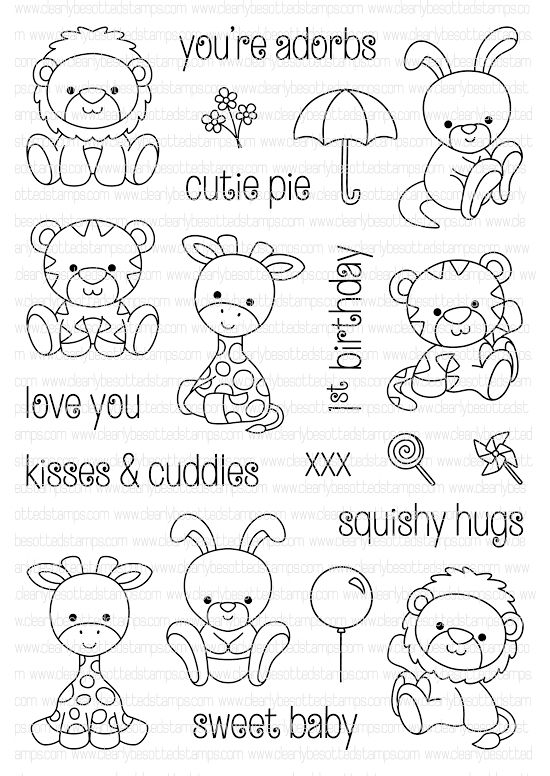 Clearly Besotted PETITE PLUSHIES Clear Stamp Set  zoom image