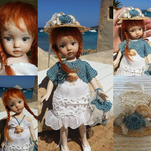 "Annette by the Sea - 8"" (20 cm) painted eyes - customized as a OOAK by me from a Dianna Effner mold."