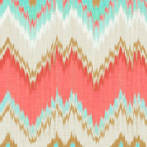 Ikat Chevron in Mint, Gold and Coral Pink fabric by sparrowsong on Spoonflower - custom fabric