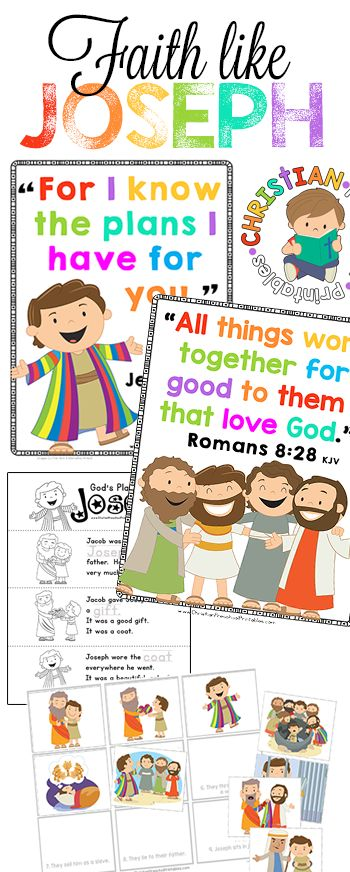 Joseph Bible Lesson Printables!  This is a fantastic set of Bible Verse Posters, Scripture Coloring Pages, Bible Minibooks and Story Sequencing Activities.  This website is Filled with FREE Christian Preschool Curriculum you can use for Homeschool or Sunday School.