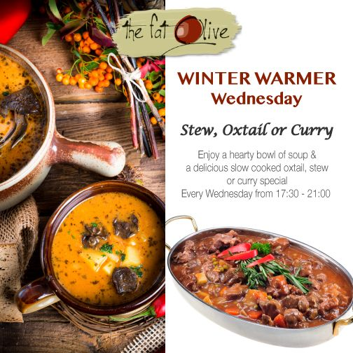 Take the night off from cooking and join us for #WinterWarmerWednesday! Enjoy a hearty bowl of soup and a delicious slow cooked oxtail, stew or curry special every Wednesday Bookings on 071 354 6622