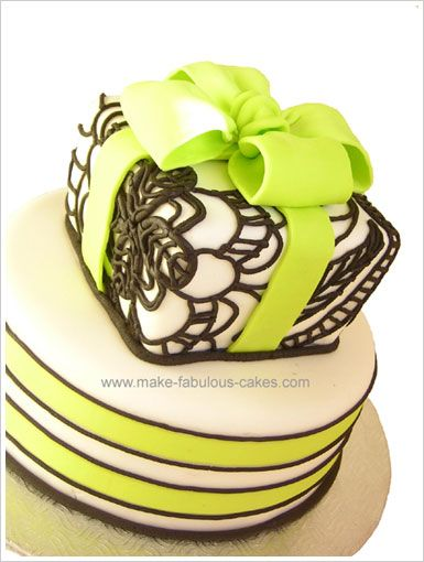 Modern wedding shower cake--I love the colors and piping on square cake.