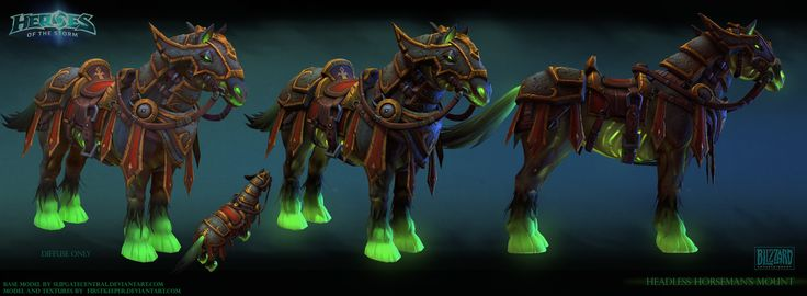 "Headless horseman mount Mount for Headless Horseman boss (originally from World of Warcraft). Model done for Heroes of the Storm map ""Towers of Doom"""