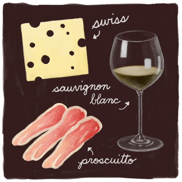 Swiss, Prosciutto, and Sauvignon Blanc   10 Cheese Pairings That Will Make Your Mouth Water For Days