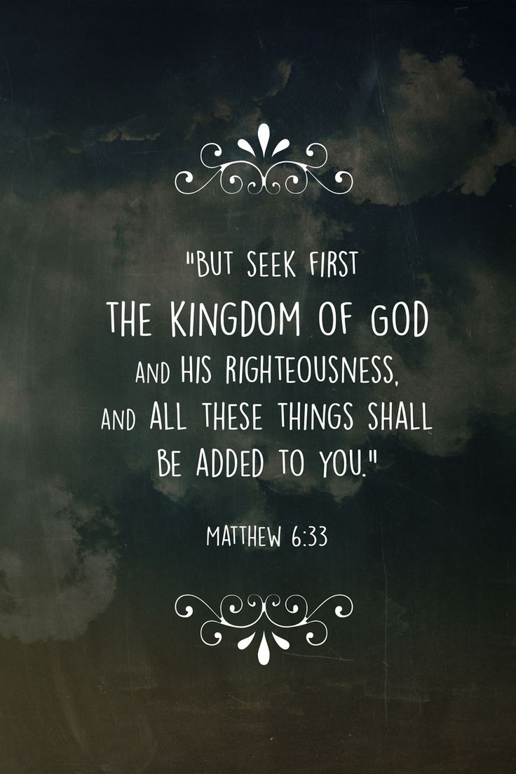 Matthew 6:33~Do not be anxious about your life. Your Heavenly Father will provide...