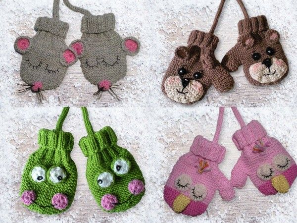 Schnapp Dir Dir die Stricknadeln + dann gehts los mit dem Stricken der Handschuhe für Babys und Kleinkinder + dem Häkeln von süßen Tier-Applikationen.