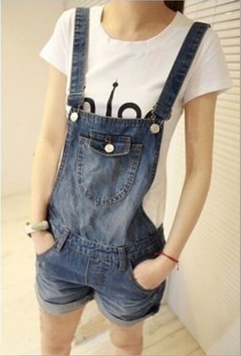 Free Shipping Fashion Design Jeans Denim Casual Overall Shorts Loose Flanging With A Pocket