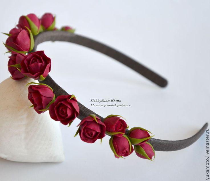 Купить Кассандра (обруч для волос) - подарок, свадебное украшение, бордовый, обруч с цветами, ободок с цветами