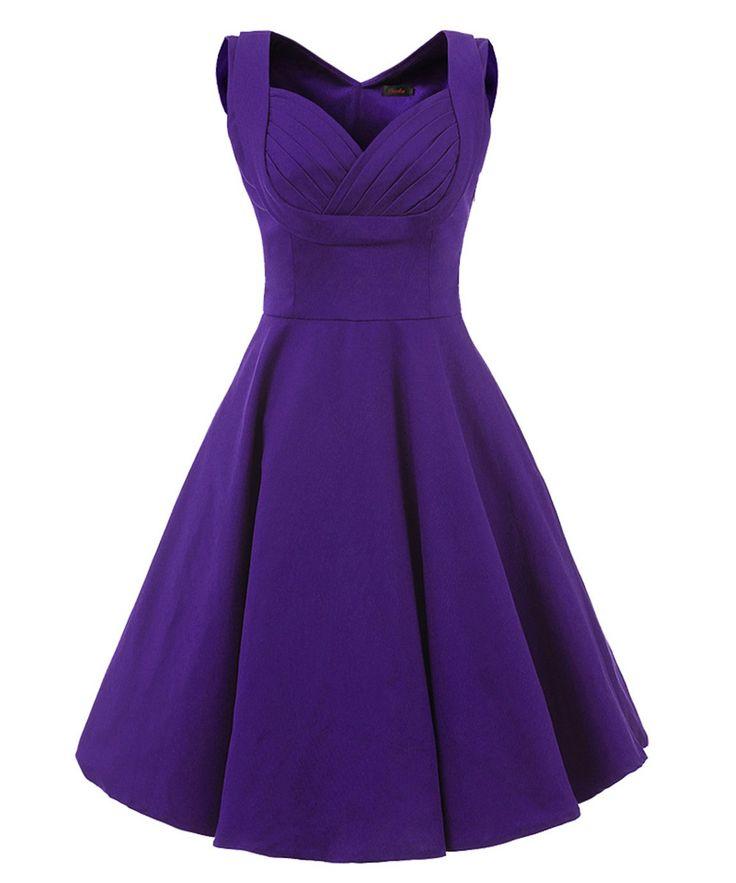 Vianla Women's 1950s V Neck Vintage Cut Out Retro Party Cocktail Dresses Purple L