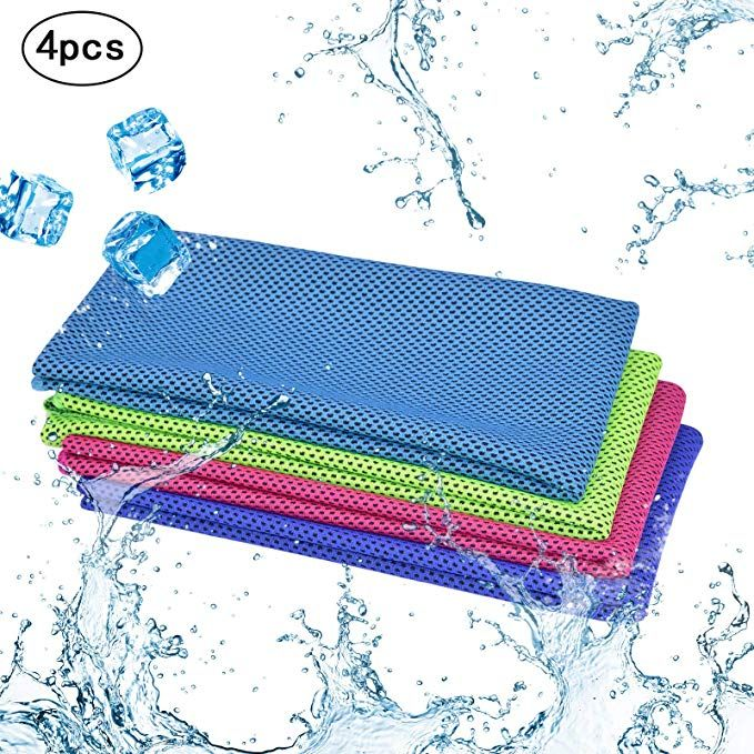 Kakoo Cooling Towel 4 Pack Instant Relief Microfiber Cool Towels Chilling Neck Wrap Ice Cold Rags Scarf For Sports