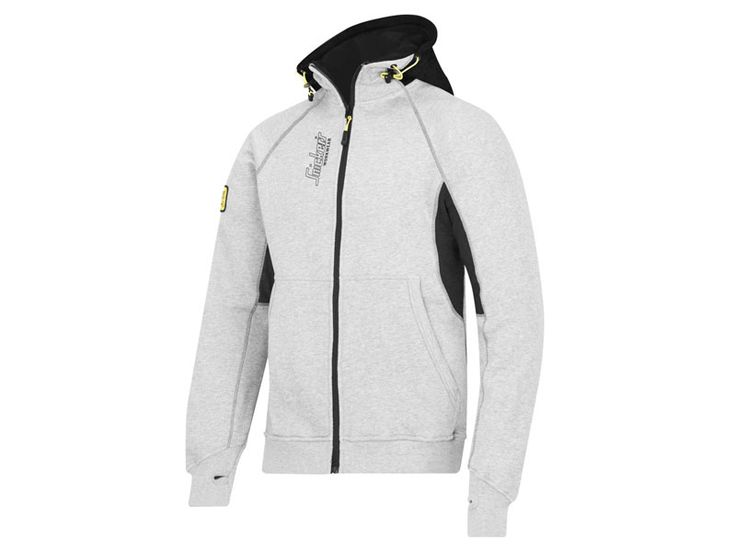 Snickers 28161804005 Medium Grey Zipped Logo Hoodie with 2 Large Front Pockets