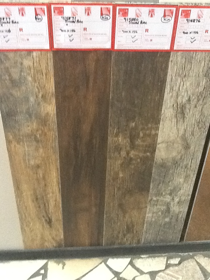 Wood look alike glazed porcelain tiles.