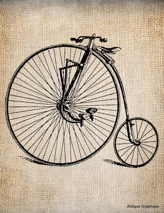 Antique Steampunk Bicycle Vintage 2   Illustration  Digital Download for Papercrafts, Transfer, Pillows, etc Burlap No 1229. $1.00, via Etsy.