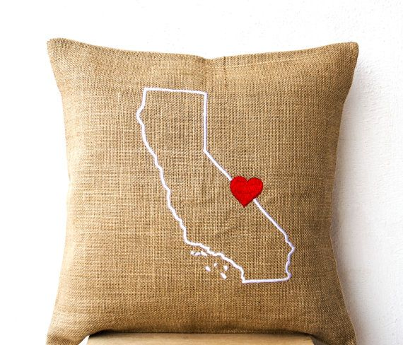 Burlap Pillows- State Pillow- Embroidered pillow- Personalized Pillow- Customized Cushion- Gift- 14x14- Burlap Cushion- California Pillow