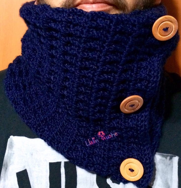 Cuello crochet botones