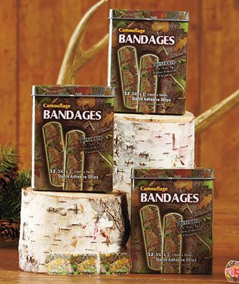 Set of 3 Camo Bandage Tins , a fun gift for one who needs some variety in their bandages.