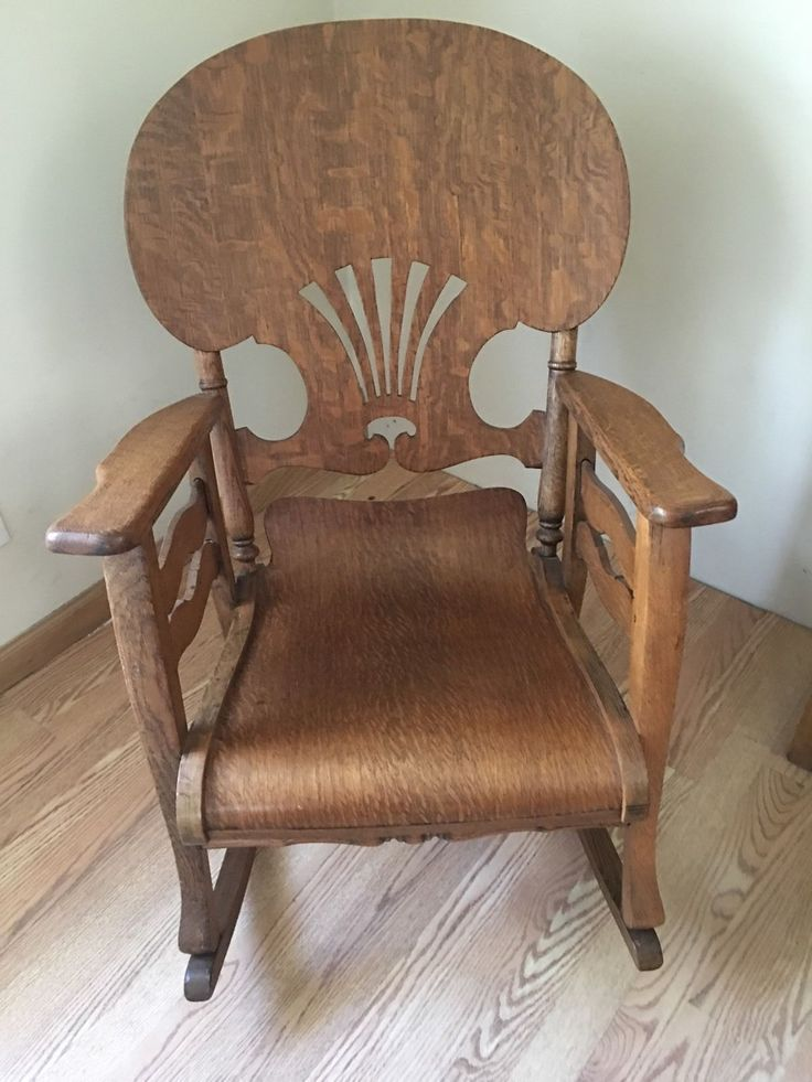 Original Antique Primitive Press Back Rocking Chair 1890