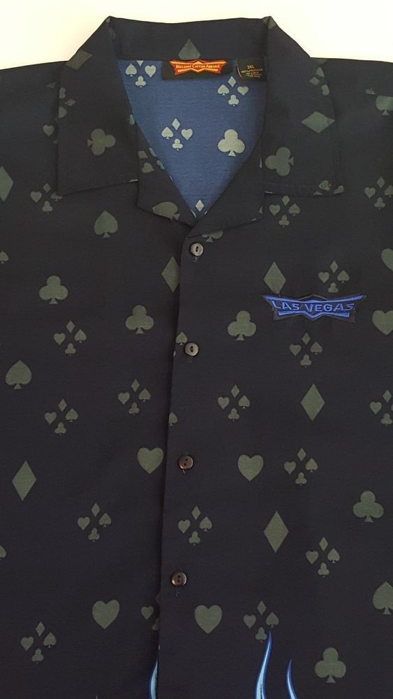Poker Dice Flames Las Vegas Men's Button Front Shirt Size 3XL #DiscountCustomApparel #ButtonFront