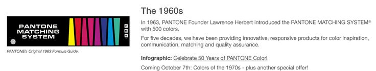 Infographic: Celebrate 50 Years of PANTONE Color! The 1960s - Retro Formula Guide!  #pantone #GOLDEN50