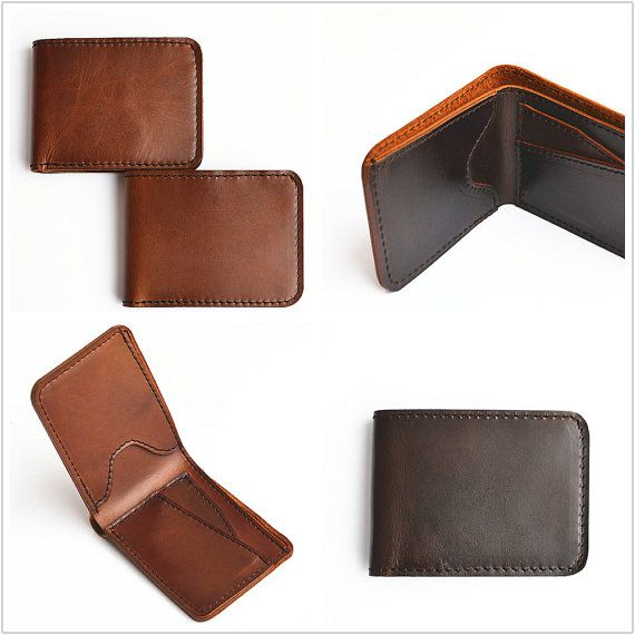 Slim Handmade Mens Leather Wallet Men Womens Leather Wallet Women Leather Bifold…