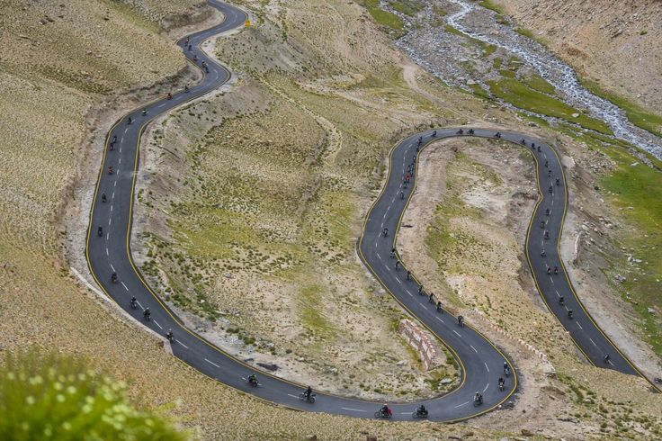 Riders from Royal Enfield Odyssey 2016 roaring up the valley near leh laddakh.