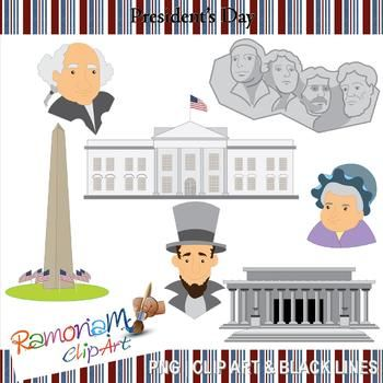 The portraits and monuments of President's Day