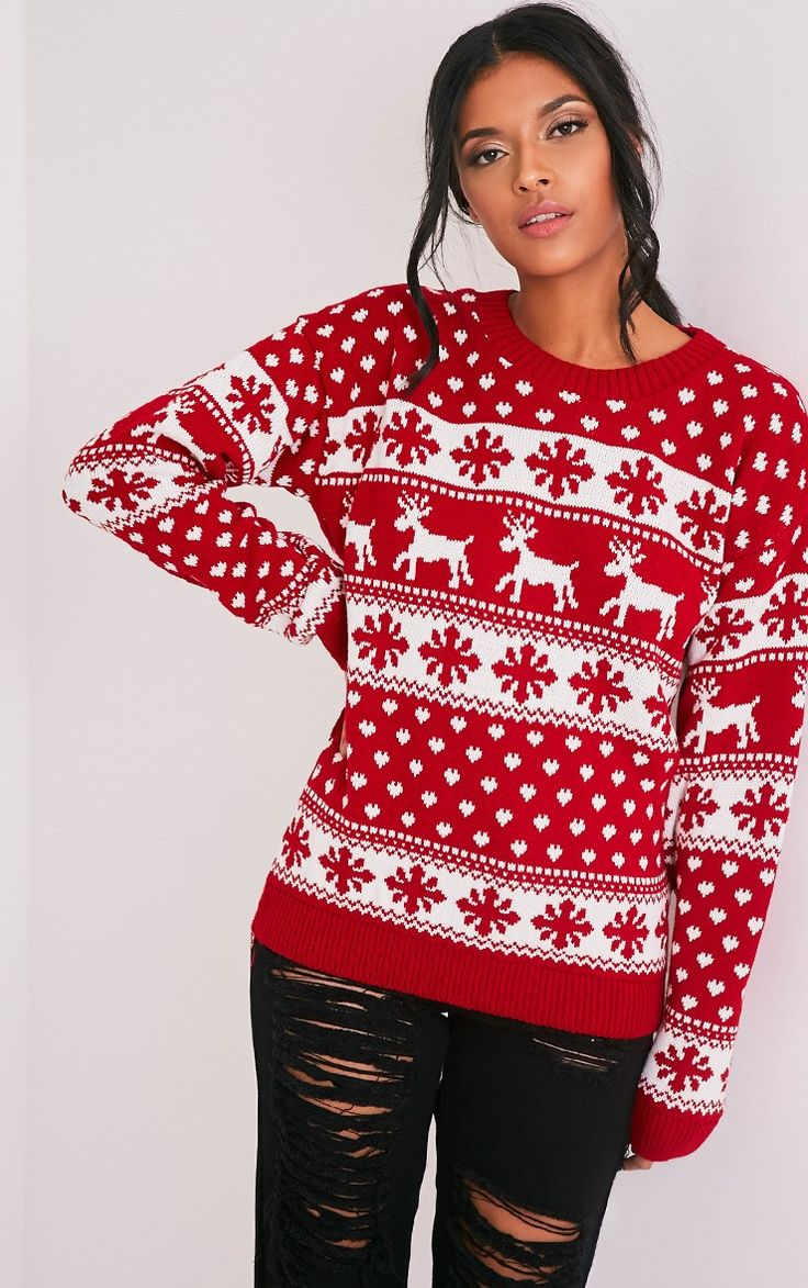 Snowflake/Reindeeer Red Mix Christmas Jumper Image 1