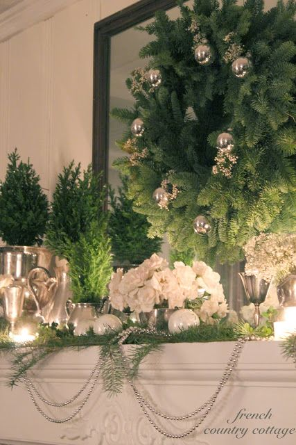 FRENCH COUNTRY COTTAGE: A Quiet Christmas Mantel!!! Bebe'!!! A great blog for holiday decor and French Country Style!!! A favorite blog with great ideas for interior design and all holiday decorations!!!