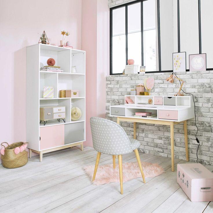 Weißer Schreibtisch im Vintage-Stil mit 2 Schubladen, grau und rosa