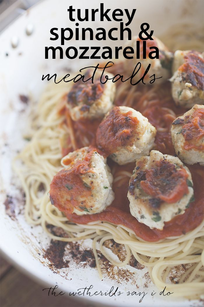 These homemade meatballs are packed with lots of flavor from ground turkey, spinach and mozzarella.