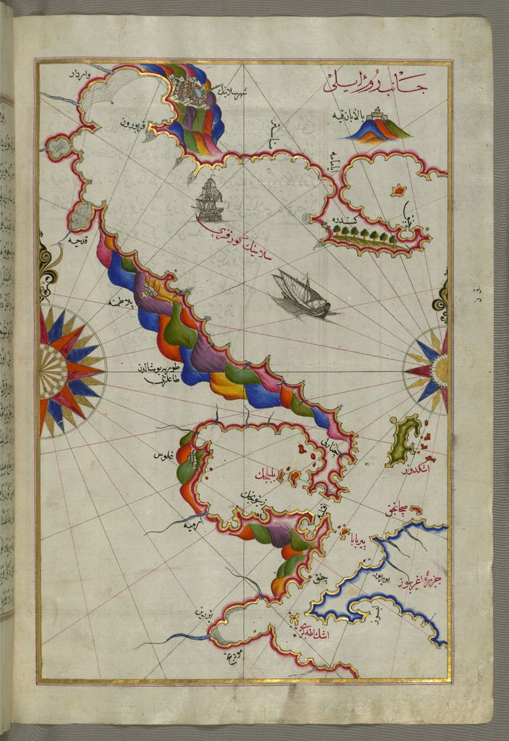 Map Of Us States Bordering Mexico%0A Illuminated Manuscript Map of the Bay of Salonica  Sel  n  k Thessalonici   and the western coastline  from Book on Navigation  Walters Art Museum Ms   by