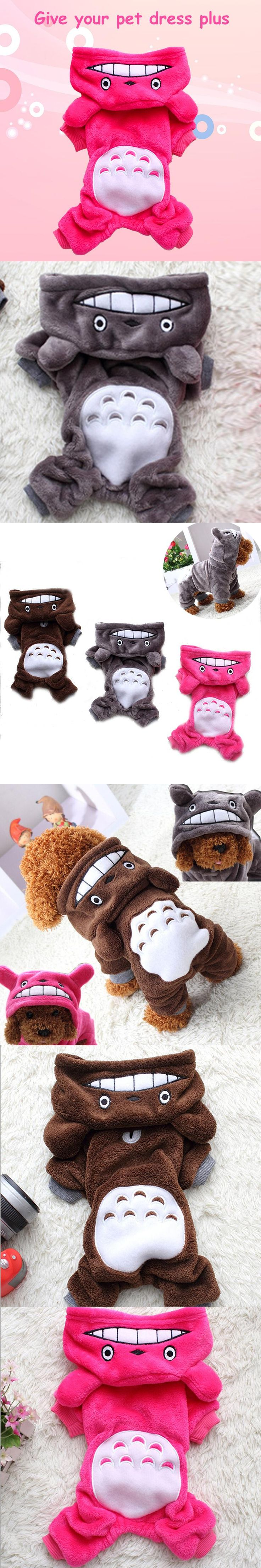 Hot Selling Fleece Pet Cat Dog Costume Soft Warm Dogs Clothes Cute Cartoon Hoodie Coat Four Leg Jumpsuit Clothing for Small Pets