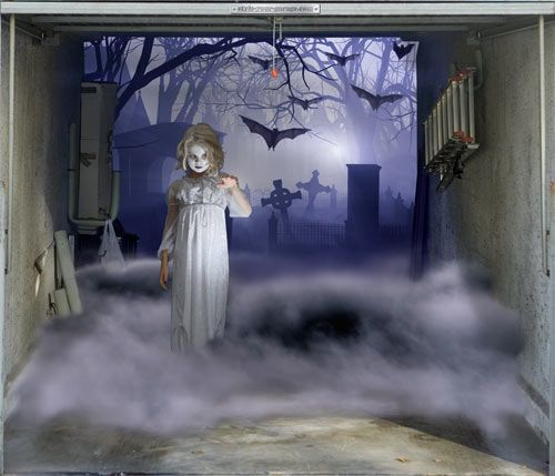 Halloween outdoor garage door 3d realistic effects haunted house pintere - Idees deco halloween ...