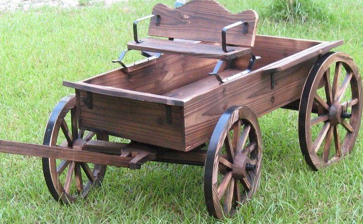 Western Wood Wagon Country Buckboard Cowboy Cowgirl Yard