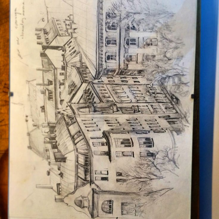 Drawing, pencil on paper. View of Sveavägen, Stockholm