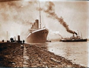 Titanic's departure from Belfast seen for the dock shore Photograph: National Museums Northern Ireland