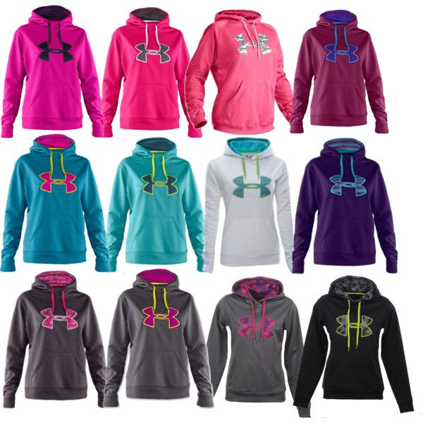 Under Armour Hoodies, I have the purple one and the pink and gray :)