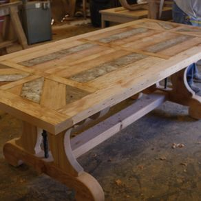 Custom Trestle Dining Table With Leaf Extensions Built In Reclaimed Wood by Jerod Lazan