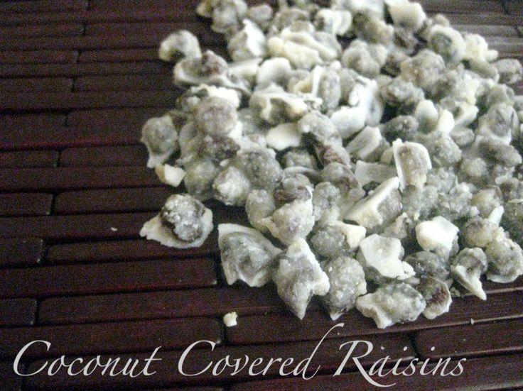 "coconut covered Raisins: A Dairy Free ""Yogurt"" Covered Raisin        I broke up the coconut coated raisin cl..."