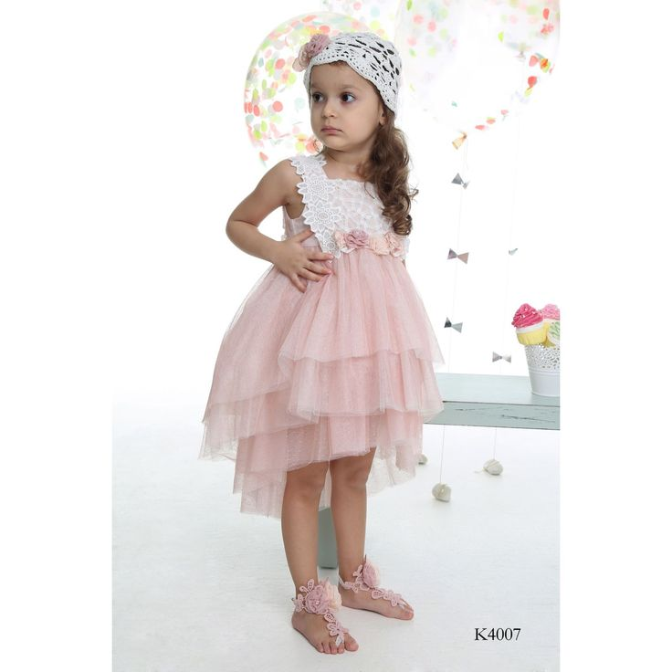 Girls Pink Tulle & Lace Dress with Crochet Hat-Mi Chiamo Christening