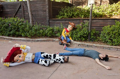 Andy's coming!  If you yell Andy's coming in front of Buzz or Woody they will stop what they are doing and fall on the ground! I will do this at Disney