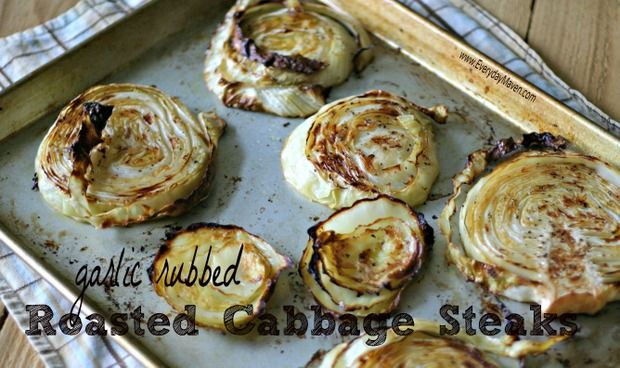 Garlic Rubbed Roasted Cabbage Steaks via @EverydayMaven