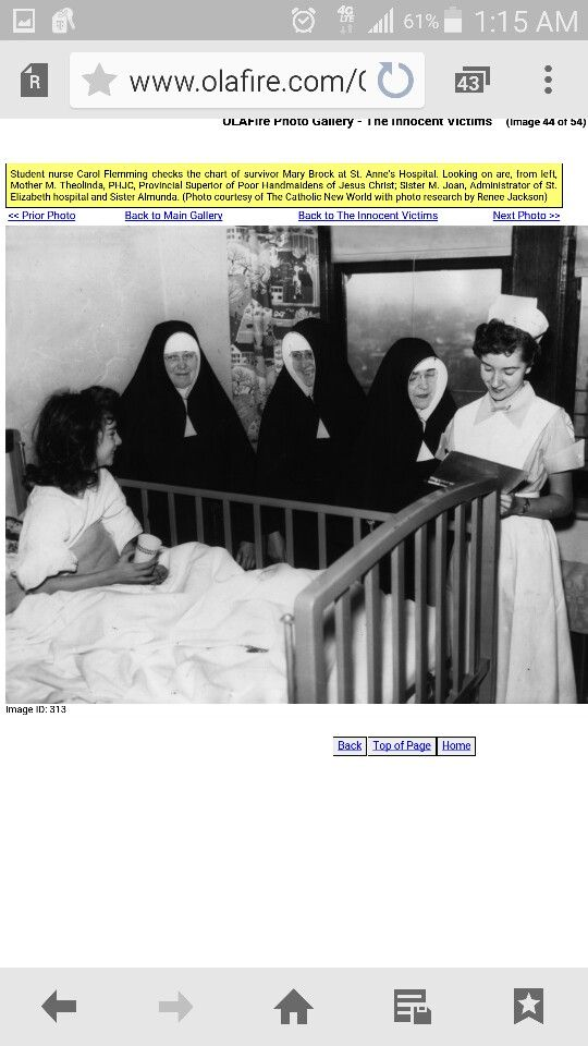 O.L.A victim, sisters and nurse at St. Anne's Hospital.
