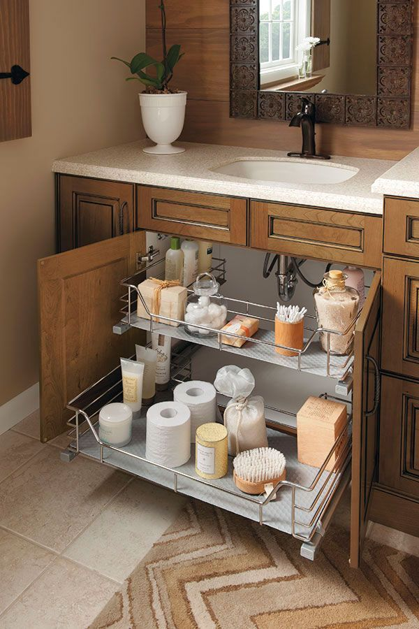 The Unique Ushape Of This Sink Base Cabinet Slideout Fits Around - Bathroom vanities with shelves