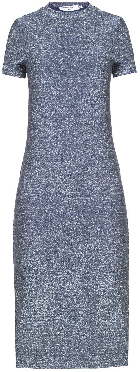 Sparkly blue mid-length short sleeve round neck dress. 70% lycra, 30% viscose Dry clean only Preorder will be shipped in two weeks after the payment has been processed. Made in Georgia Model is wearing size S She is 174cm, bust 92cm, waist 66cm, hips 93cm