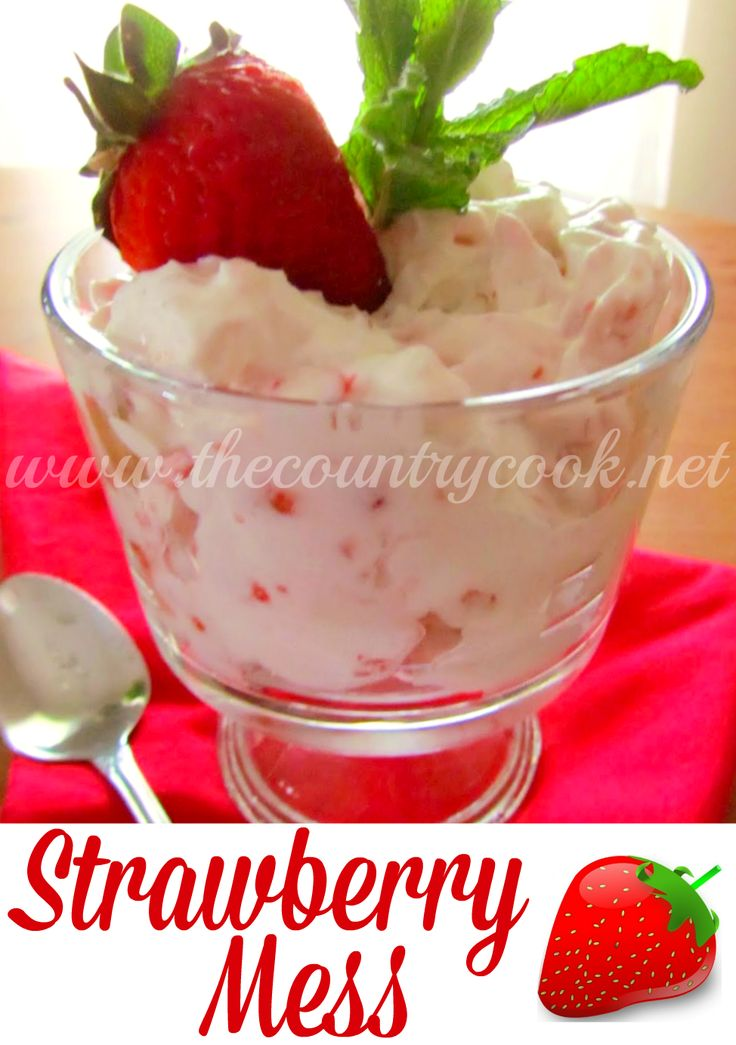 Strawberry Mess                                                                               •1 pkg meringue cookies, 1 cup heavy cream, 1/2 tsp vanilla, 1 Tbsp sugar, 1 lb strawberries (raspberries), 2 Tbsp sugar, strawberry sauce                                                                             •In a bowl beat cream, vanilla, & sugar until stiff peaks. Mash 1/3 of berries. Cut the rest of the berries into bite size pieces & place in bowl w/the mashed berries. Sprinkle sugar on…