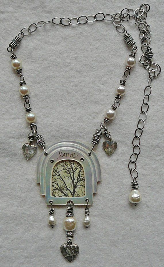Nina Bagley - love tree necklace with upcycled MOP belt buckle