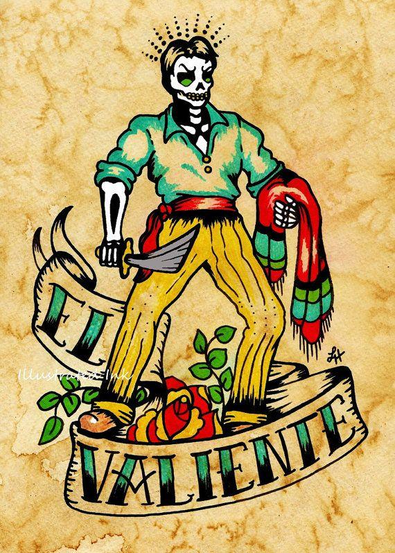 Día de los muertos tatuaje Art EL VALIENTE por illustratedink, $10.00