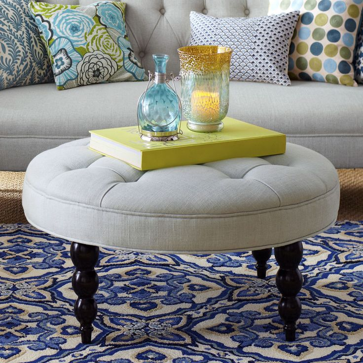 ottoman for living room%0A Large enough to be a cocktail ottoman but cozy enough to put your feet up  on  Bedroom YellowLiving