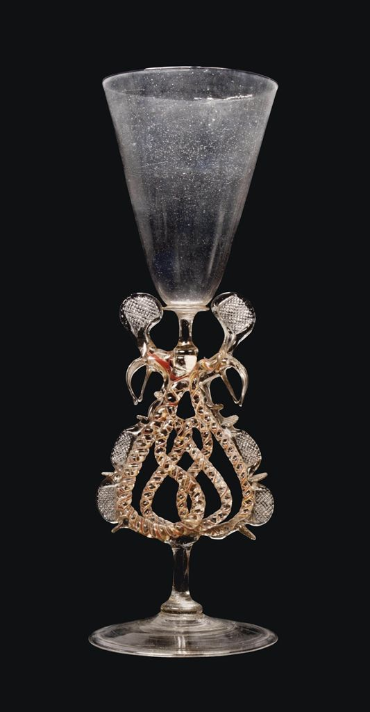 A FACON-DE-VENISE OPENWORK WINGED GOBLET -  CIRCA 1680, LOW COUNTRIES